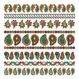 Set of nine decorative indian flower elements design Royalty Free Stock Photography