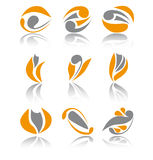 Set of nine different abstract business signs. Set of nine orange different abstract signs Royalty Free Stock Photos