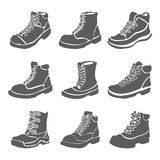 Set of nine different boots illustration isolated on white background Royalty Free Stock Images