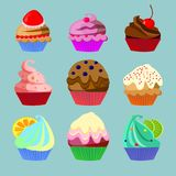 Set of nine sweets. Set of nine different cakes isolated on blue background royalty free illustration