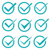Set of nine different  check marks or ticks in circles Stock Photography