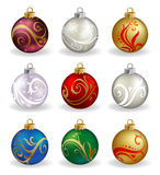 Set of nine, different color, vector christmas Royalty Free Stock Photography
