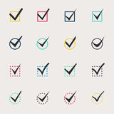 Set of nine different colors vector check marks Stock Image