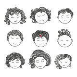 Set of nine different cute hand drawn faces. Royalty Free Stock Image