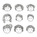 Set of nine different cute hand drawn faces. Doodle collection of avatars. Artistic design elements. Vector Illustration isolated on background Royalty Free Illustration