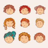 Set of nine different cute hand drawn faces with a multi-colored curly hair. Stock Photography