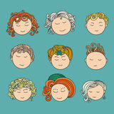 Set of nine different cute hand drawn faces with a multi-colored curly hair. Stock Photo