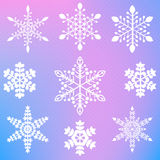 Set of nine different elegant snowflakes Royalty Free Stock Images
