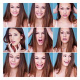 Set of nine different expressions on a pretty girl Stock Image