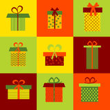 Set of nine different gift boxes on colorful background. Set of nine different colorful gift boxes on colorful background. Vector illustration for Christmas Stock Photos