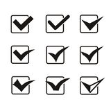Set of nine different grey and white vector check Royalty Free Stock Images