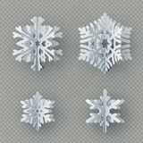 Set of nine different paper snowflake cut from paper isolated on transparent background. Merry Christmas, New Year vector illustration