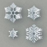 Set of nine different paper snowflake cut from paper isolated on transparent background. Merry Christmas, New Year stock illustration