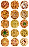 A set of nine different pizza for the menu, with cheese, with ham, with salami, with mushrooms, with holopina with tomatoes on royalty free stock photography