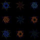 Set of nine different stars. Royalty Free Stock Photos