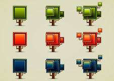 Set of nine different trees. At day, evening and night Vector Illustration