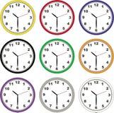Wall clocks. Set of nine different wall clocks Stock Images