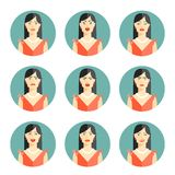 Set of nine different women emotions Stock Image