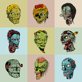 Set of nine drawn image with the zombie Royalty Free Stock Image
