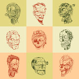 Set of nine drawn image with the zombie skull Stock Photo