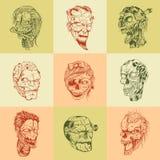 Set of nine drawn image with the zombie skull Stock Photo