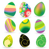 Set of nine easter eggs Royalty Free Stock Images