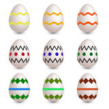 Set of nine easter eggs Stock Photography
