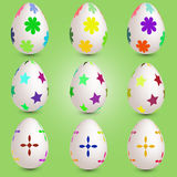 Set of nine easter eggs Royalty Free Stock Photography