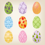 Set of nine Easter Eggs Royalty Free Stock Image