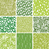 Set of nine ecological seamless patterns Stock Image