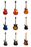 Set of nine electric guitars Royalty Free Stock Image