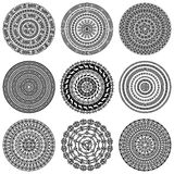 Set of nine 9 ethnic monochromatic round design elements isolated on white Royalty Free Stock Images