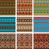 Set of nine ethnic seamless patterns Royalty Free Stock Images