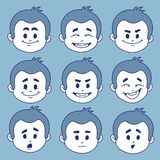 Set of nine facial expressions Stock Photo
