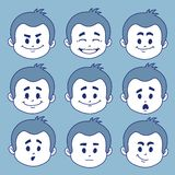 Set of nine facial expressions Royalty Free Stock Photo
