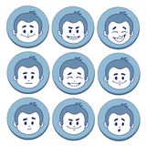 Set of nine facial expressions. In blue frames on white background Stock Photography