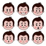 Set of nine facial expressions Royalty Free Stock Images