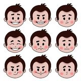 Set of nine facial expressions Stock Photos