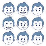 Set of nine facial expressions. On white background Royalty Free Stock Photo
