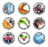 Set of nine fantasy bottle caps Stock Image