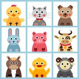 Set of nine farm animals Stock Images