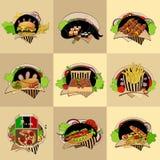 Set of nine  fast-food illustrations Stock Photo