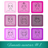Set of nine female avatars, can be used on the web Stock Photography