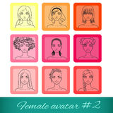 Set of nine female avatars, can be used on the web Stock Photos