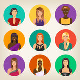 Set of nine female avatars in modern style Royalty Free Stock Images