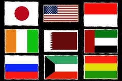 Set of nine flags of the world countries on postage stamps isolated on black background.Official colors and proportion of flags . Creative illustration Royalty Free Stock Photo