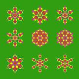 Set of nine flat design with abstract snowflakes isolated on green background. Vector Snowflakes mandala stock illustration