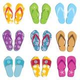 Set of nine flip flops Stock Images
