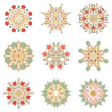 Set of nine floral circular design elements Royalty Free Stock Photo