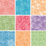 Set Of Nine Floral Lace Seamless Patterns Royalty Free Stock Images